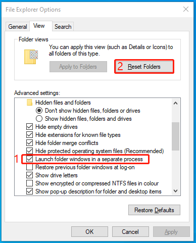 file explorer Windows 10 reset file options