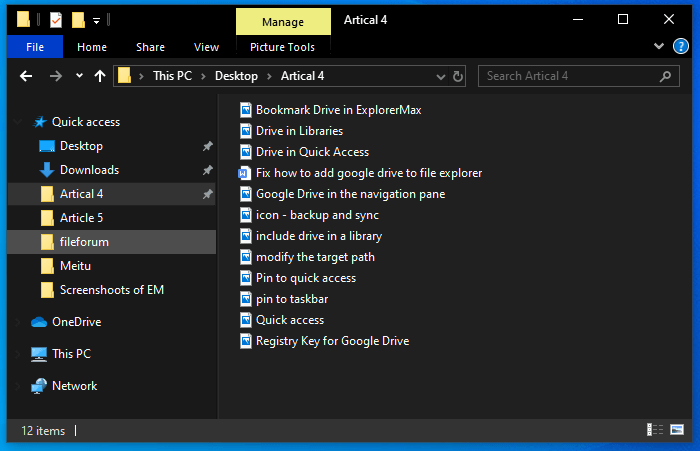 File Explorer dark theme