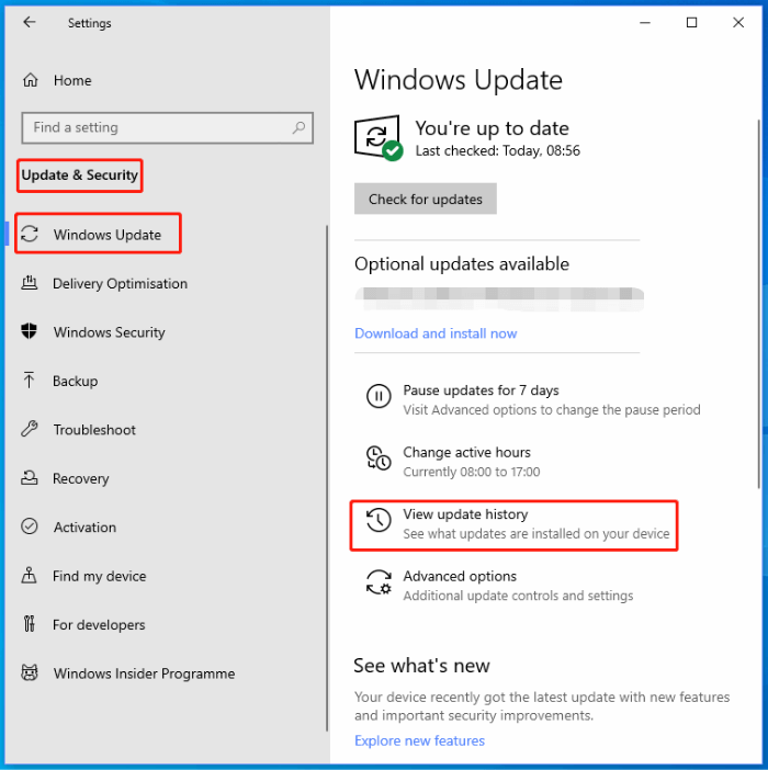 Windows Update - View Update history