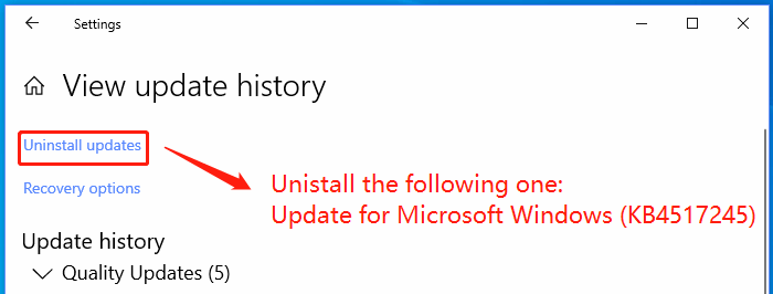 Unistall Update of 1909 Update (KB4517245)