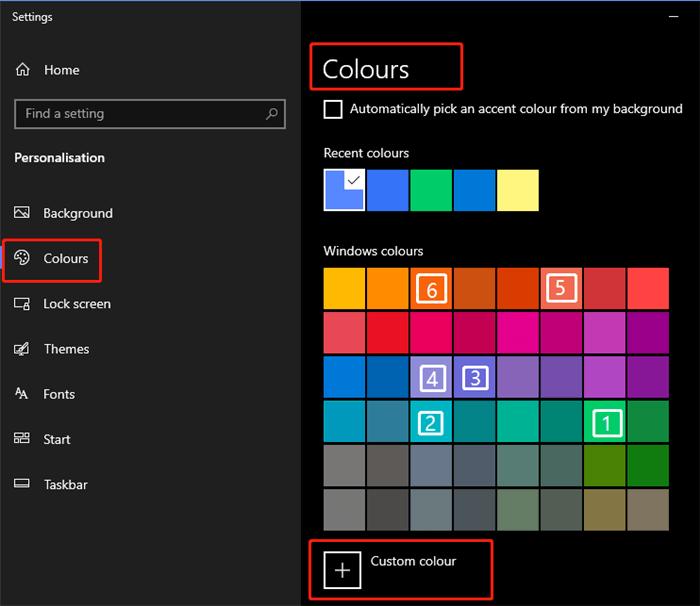 windows color setting